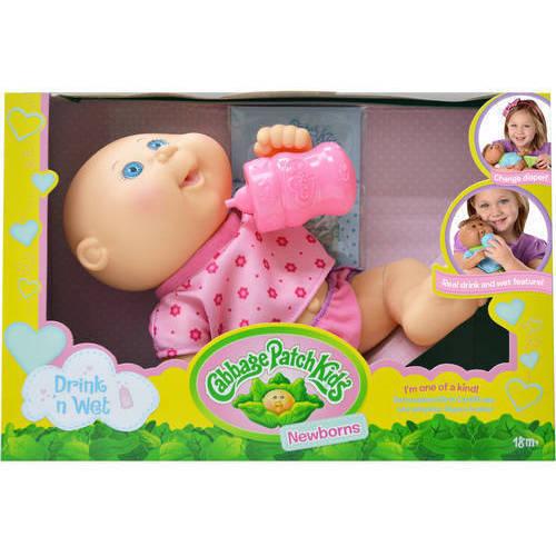 """Cabbage Patch Kids 11"""" Drink N' Wet Newborn, Girl, Bald"""