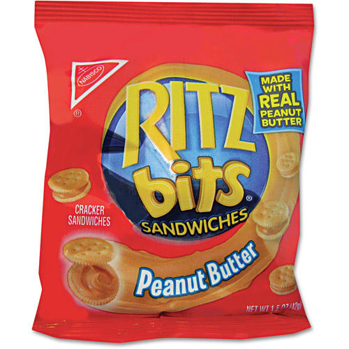 Nabisco Ritz Bits Peanut Butter Cracker Sandwiches, 1.5 oz, 60 count