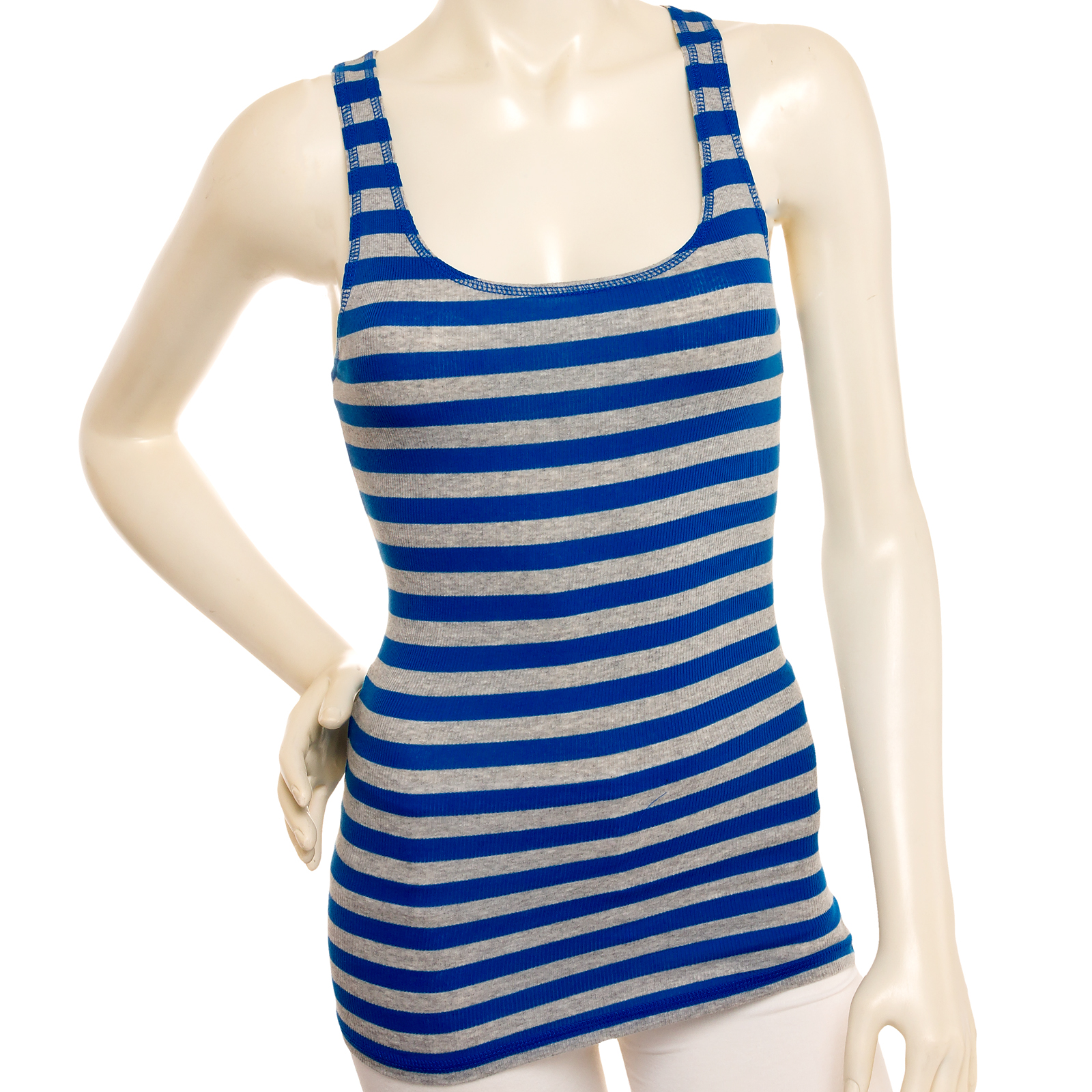NEW Womens Cotton Blend Striped Racerback Ribbed Tank Top Shirt