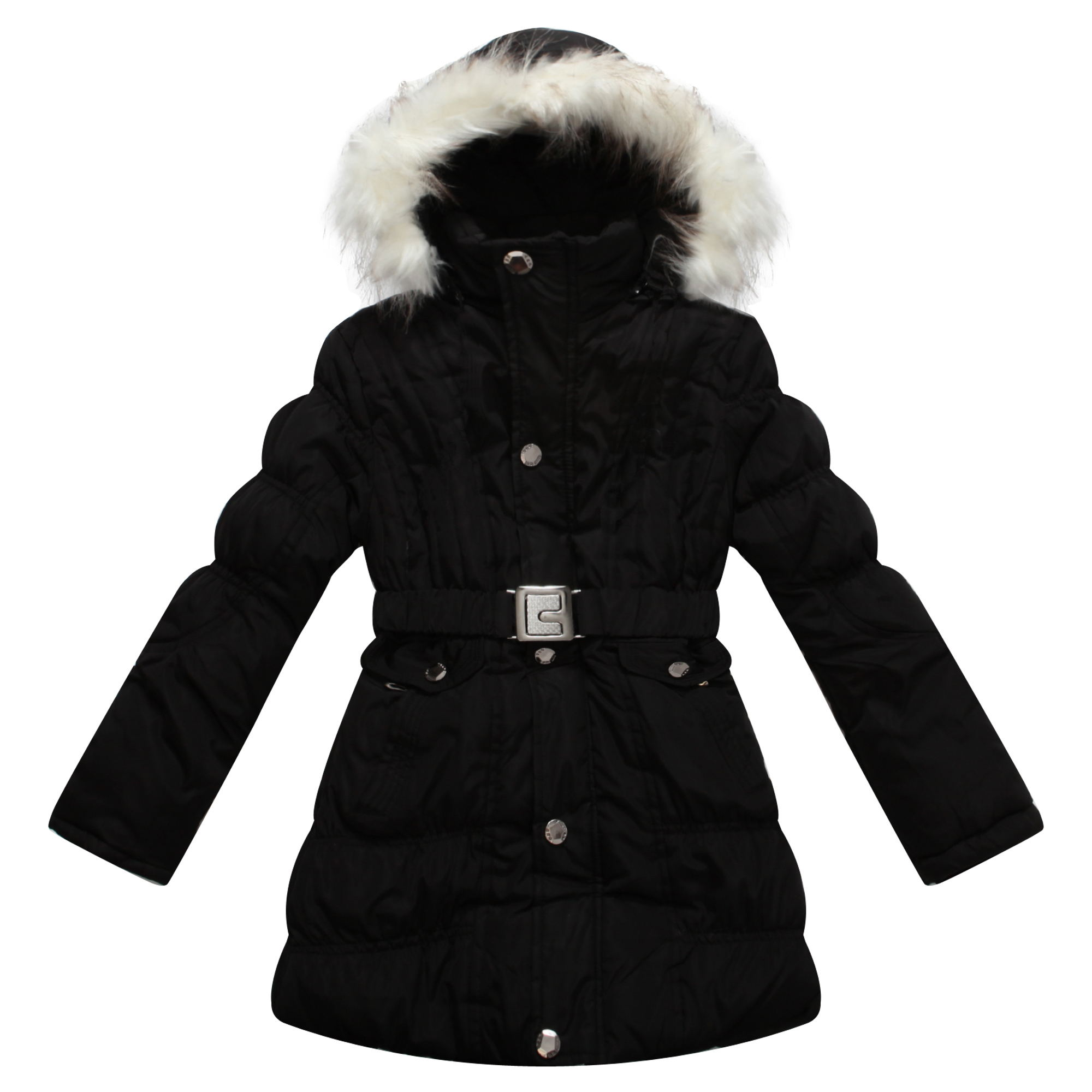 Richie House Girls' Padded Winter Jacket with Belt and Faux Fur Hood RH0784-D-7/8