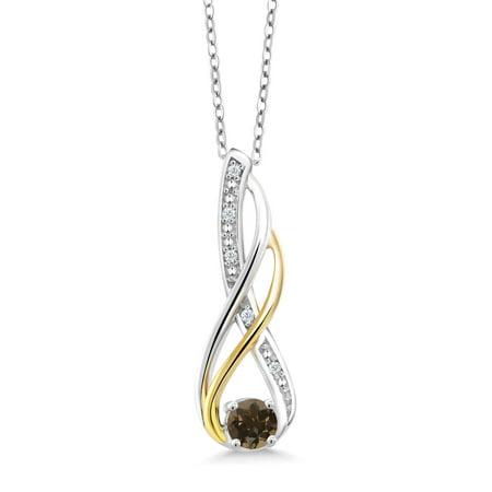 925 Silver and 10K Yellow Diamond Pendant 0.30 Ct Round Brown Smoky Quartz Brown Stone Outdoor Pendant