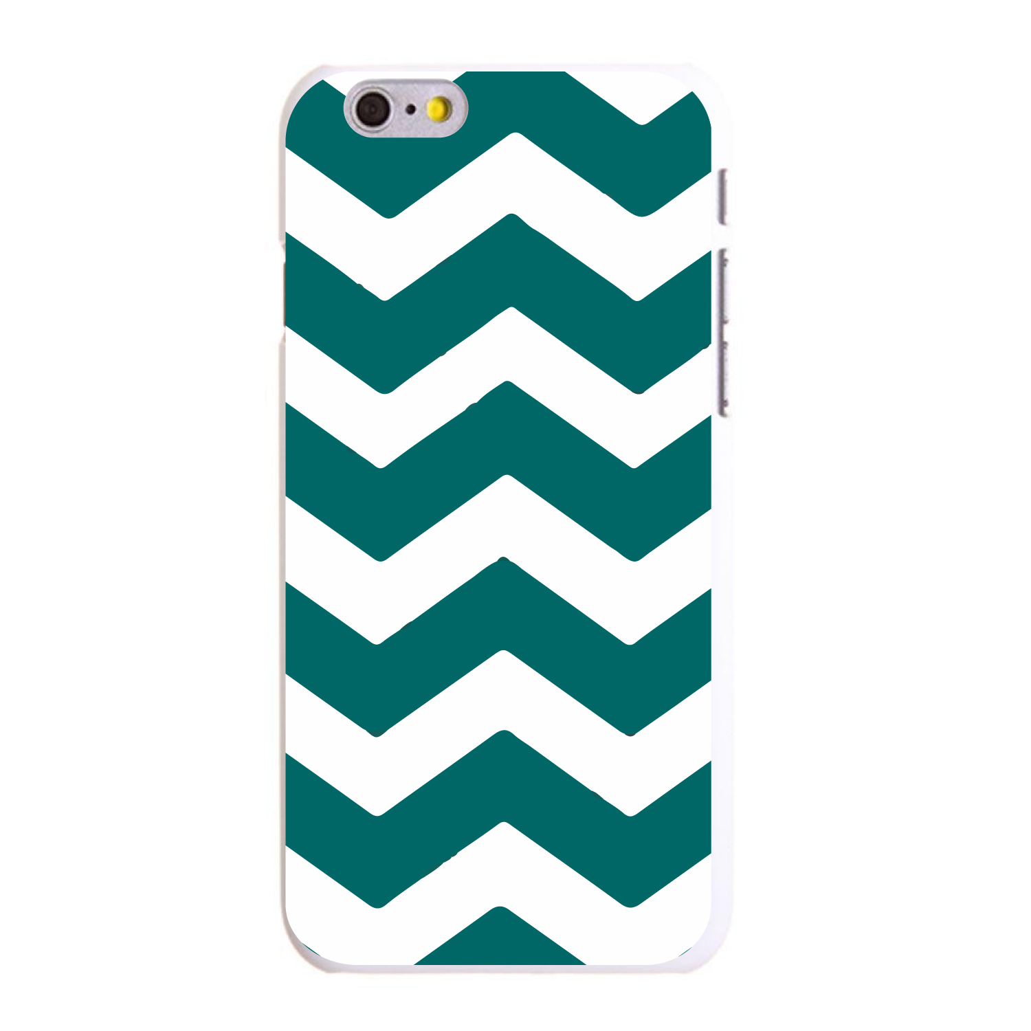 "CUSTOM White Hard Plastic Snap-On Case for Apple iPhone 6 PLUS / 6S PLUS (5.5"" Screen) - Teal White Chevron Stripes"