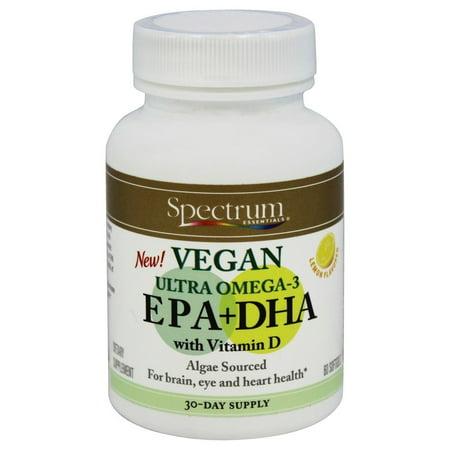 Spectrum Essentials - Vegan Ultra oméga-3 EPA + DHA avec vitamine D citron aromatisée - 60 Gélules