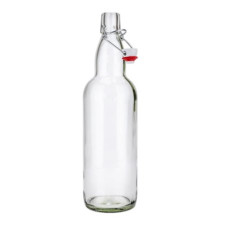 SafePro GB32, 1L / 33.8-ounce Clear Glass Bottle with Stopper, Vintage Style Bottle for Home Brewing, Beer Milk Water Oil Vinegar Glass Bottle with Swing Top](Glass Bottles With Stoppers)