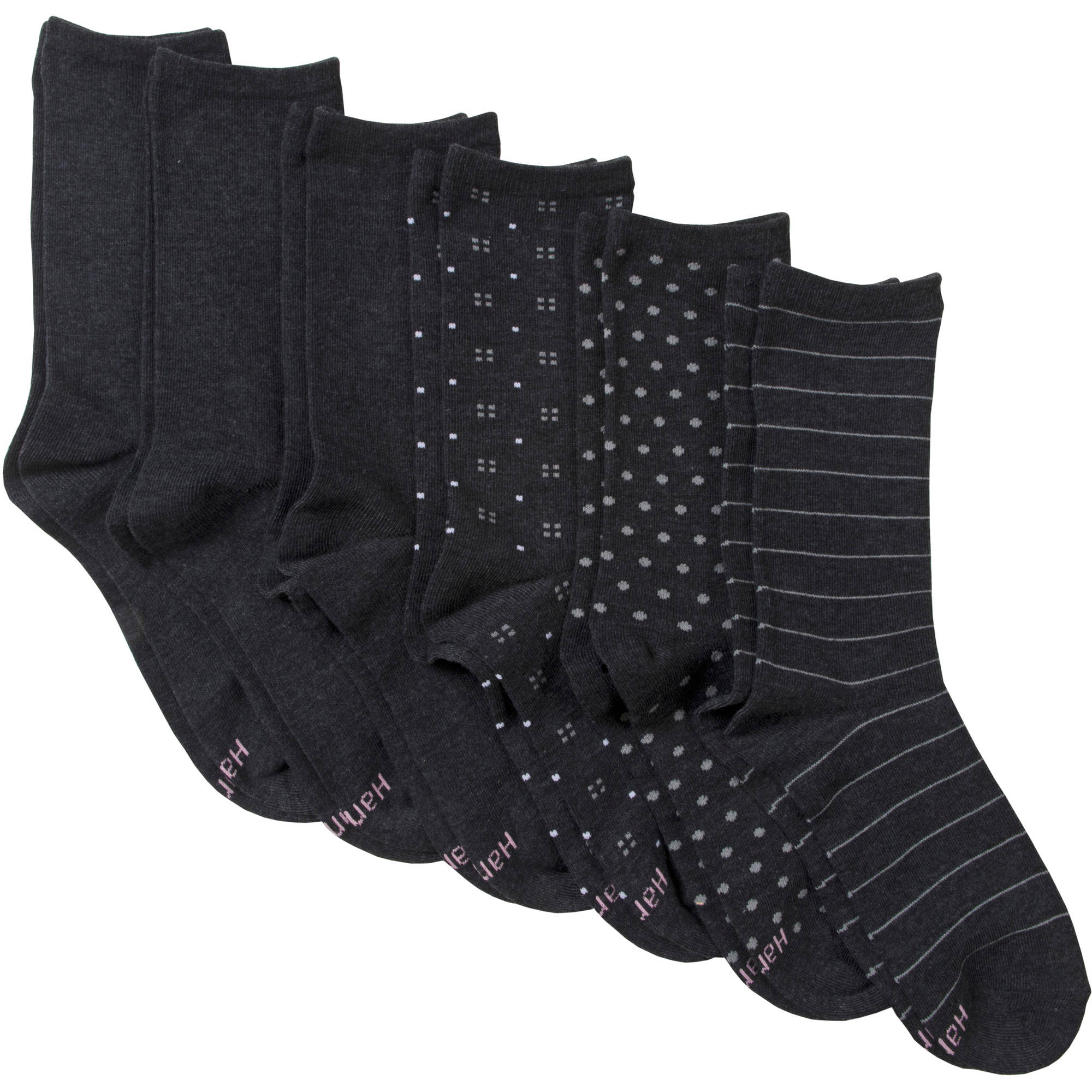 Hanes Women's ComfortBlend Crew Socks - Extended Sizes - 6 Pair