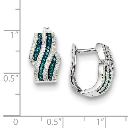 Sterling Silver Blue and White Diamond Earrings QE10808 - image 1 of 2
