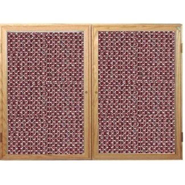 Ghent PW23660F-92 36 in. x 60 in. 2-Door Oak Wood Frame Enclosed Fabric Tackboard - Merlot