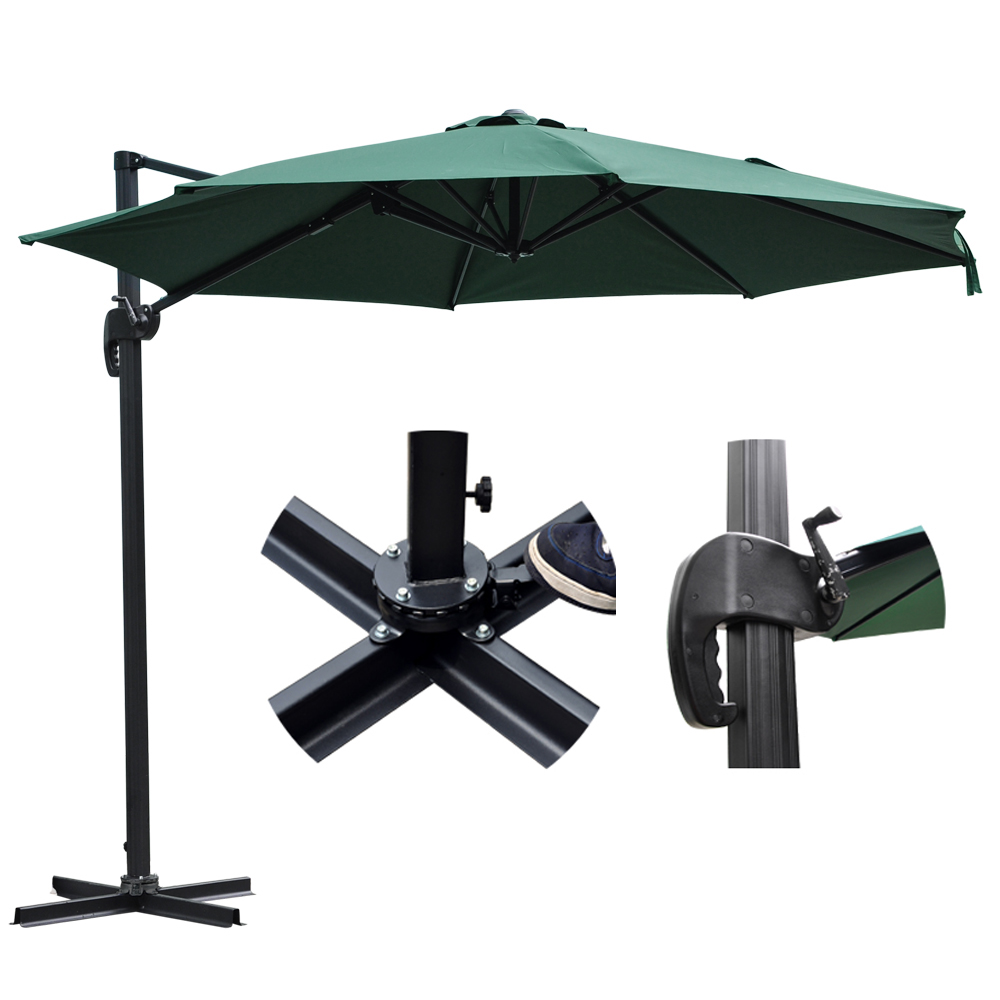 10'Offset Hanging Outdoor Patio Market Umbrella Cantilever w/ Crank Pedal Control