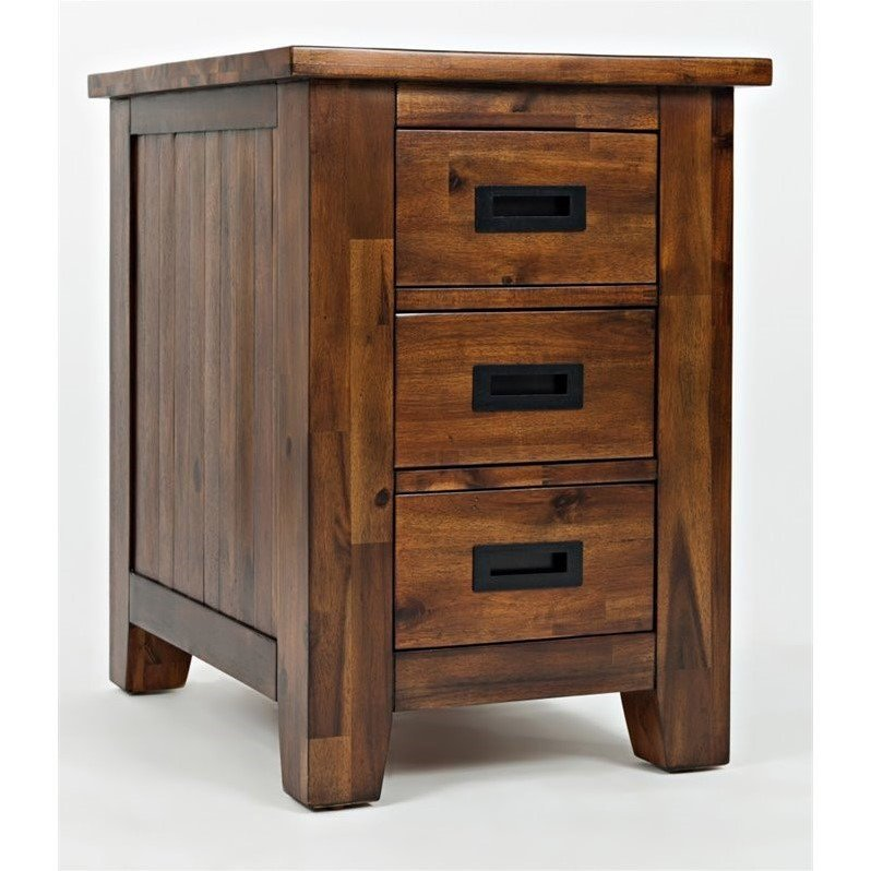 Jofran Coolidge Corner End Table with 3 Drawers in Light Brown