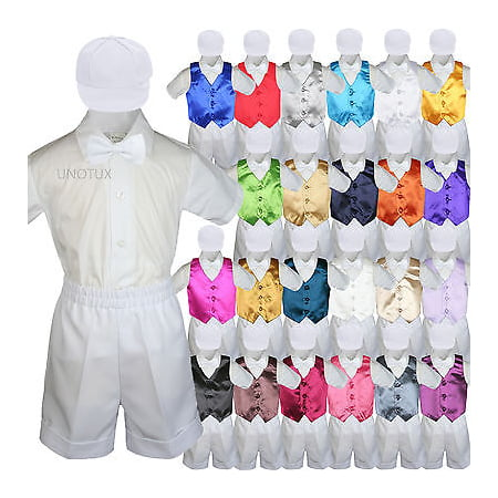 Boys Toddler Formal Vest Shorts Suits Satin Vest White Bow Tie Hat 5pc Set S-4T