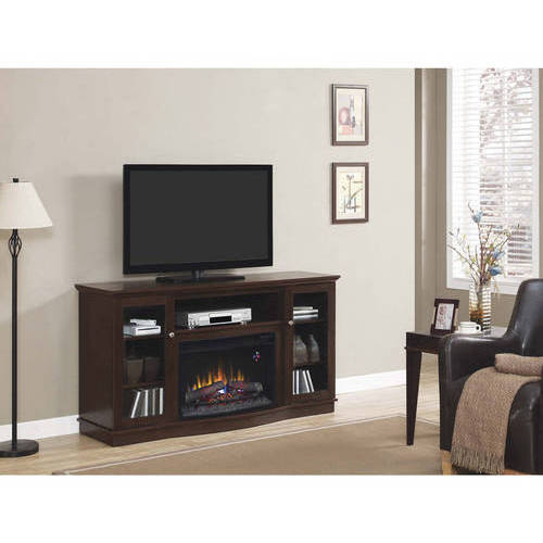 """ChimneyFree Media Electric Fireplace for TVs up to 65"""", Brown Espresso"""