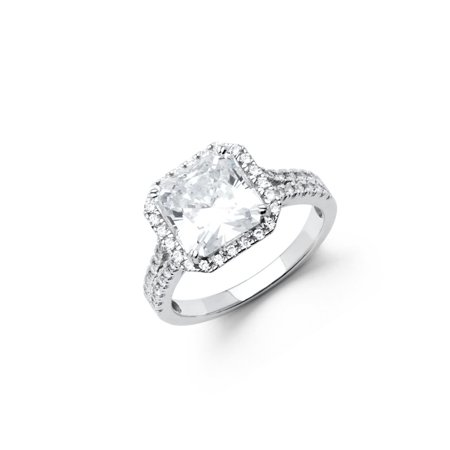 Jewels By Lux Jewels By Lux 925 Sterling Silver Halo Cushion Cut Pave Cut Cubic Zirconia Cz Engagement Ring Size 5 5 Walmart Com