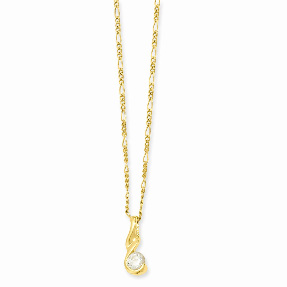 18in Gold-plated Round CZ Necklace. Lovely Leatherrete Gift Box Included