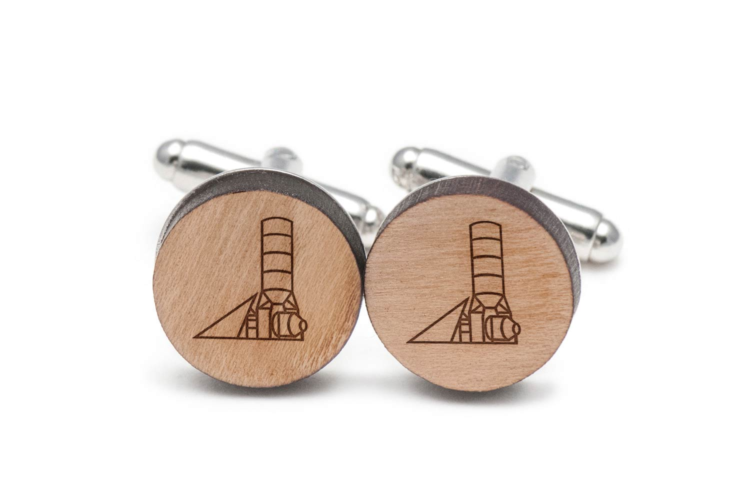 Concrete Mixer Plant Cufflinks, Wood Cufflinks Hand Made in the USA by BigSpool Distributors