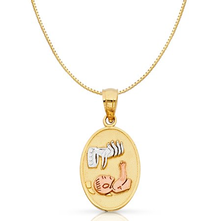 14K Tri Color Solid Gold Baptism Religious Charm Pendant with 0.8mm Box Chain Necklace