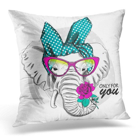 CMFUN Affable Elephant with Pink Glasses and Rose of Dressed Animal Throw Pillow Case Pillow Cover Sofa Home Decor 16x16 Inches (Elephant Pins)
