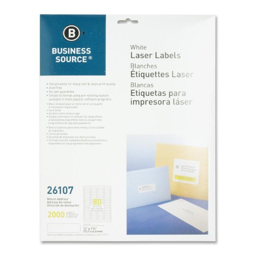 "Business Source Address Laser Labels - Permanent Adhesive - 1/2"" Width x 1 3/4"" Length - Rectangle - Laser - White - 80 / Sheet - 25 Total Sheets - 2000 / Pack"