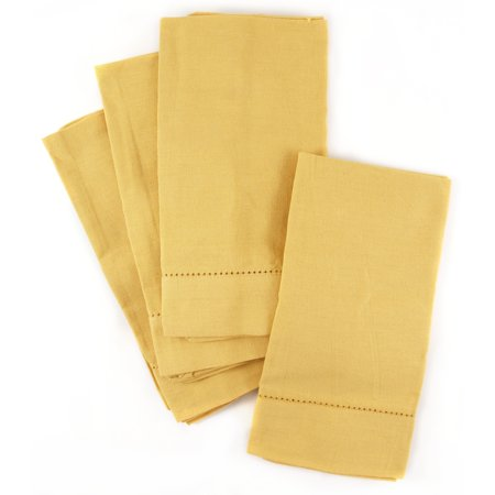 Town and Country Home Dijon Yellow Hemstitch 100% Cotton Cloth Dinner Napkins, Set of - French Country Rooster Napkin
