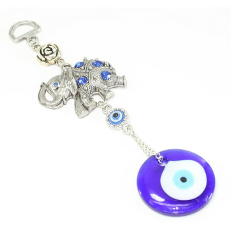 Brand New Blue Evil Eye Elephant w Flower Amulet Protection Wall Hanging Home Decor Gift