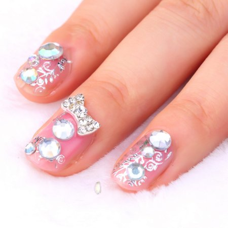 3d Clear Alloy Rhinestone Bow Tie Nail Art Slices Diy Decorations