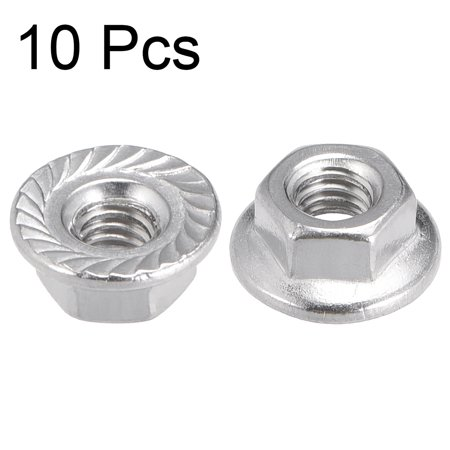M4 Serrated Flange Hex Lock Nuts, 304 Stainless Steel, 10 Pcs - image 2 de 3
