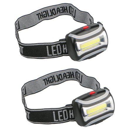 - 2-pack 5W 800LM 3-Mode Battery Operated COB Head Light LED Headlamp Flashlight for Camping Night Fishing