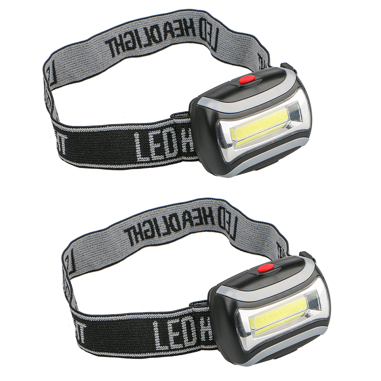 2-pack 5W 800LM 3-Mode Battery Operated COB Head Light LED Headlamp Flashlight for Camping Night Fishing