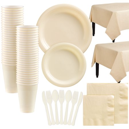 Party City Plastic Tableware Kit for 100 Guests, 852 Pieces, Includes Plates, Napkins, Table Covers, and Utensils - Party City Rockville