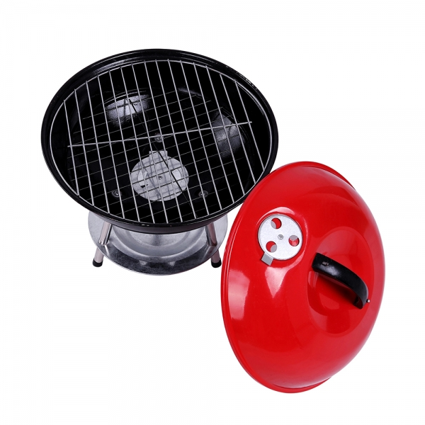 14 Inch Round Kettle BBQ Barbecue Charcoal Grill with Lid Red