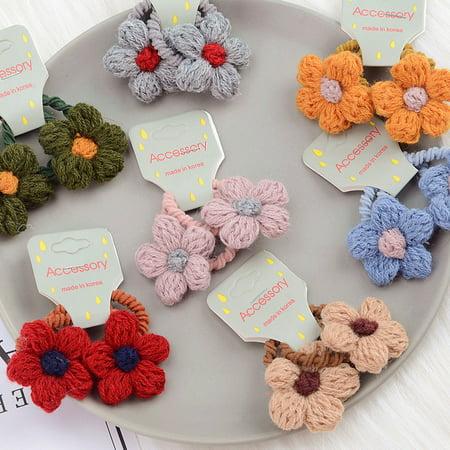 babydream1 2Pcs/set Kids Mini Flower Hair Tie Ponytail Holder Children Girls Cashmere Flowers Hair Band Rope - image 4 de 9