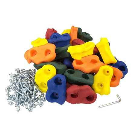 30 Large Kids Rock Climbing Holds - with Mounting Hardware for 1 Installation