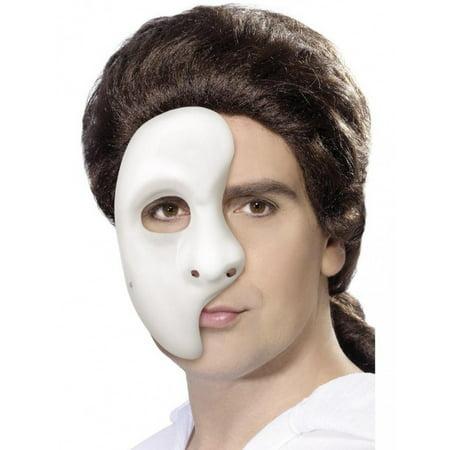 Phantom Of The Opera White Half Mask Adult Masquerade Party Mardi Gras Costume
