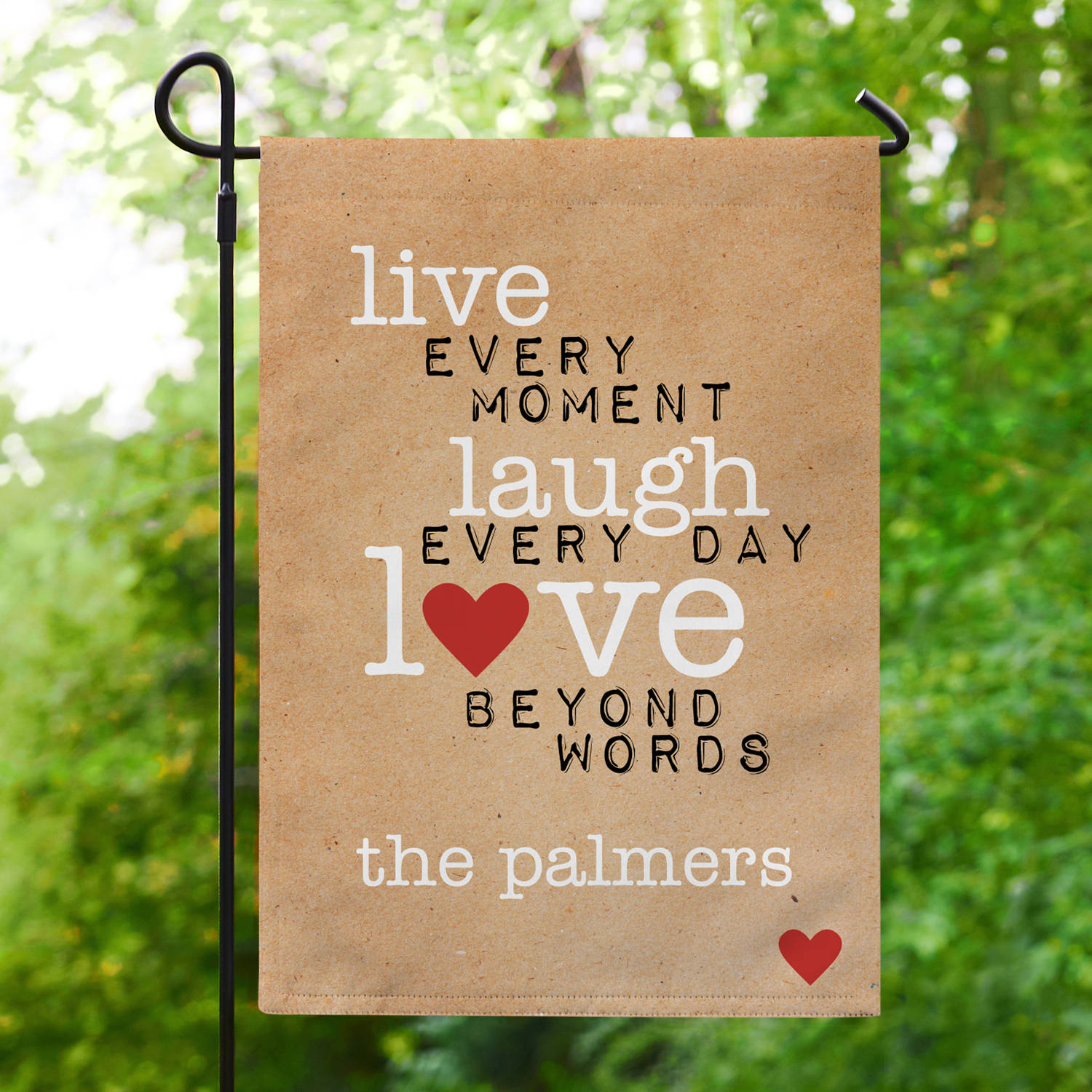 Personalized Live, Laugh, Love Beyond Words Garden Flag