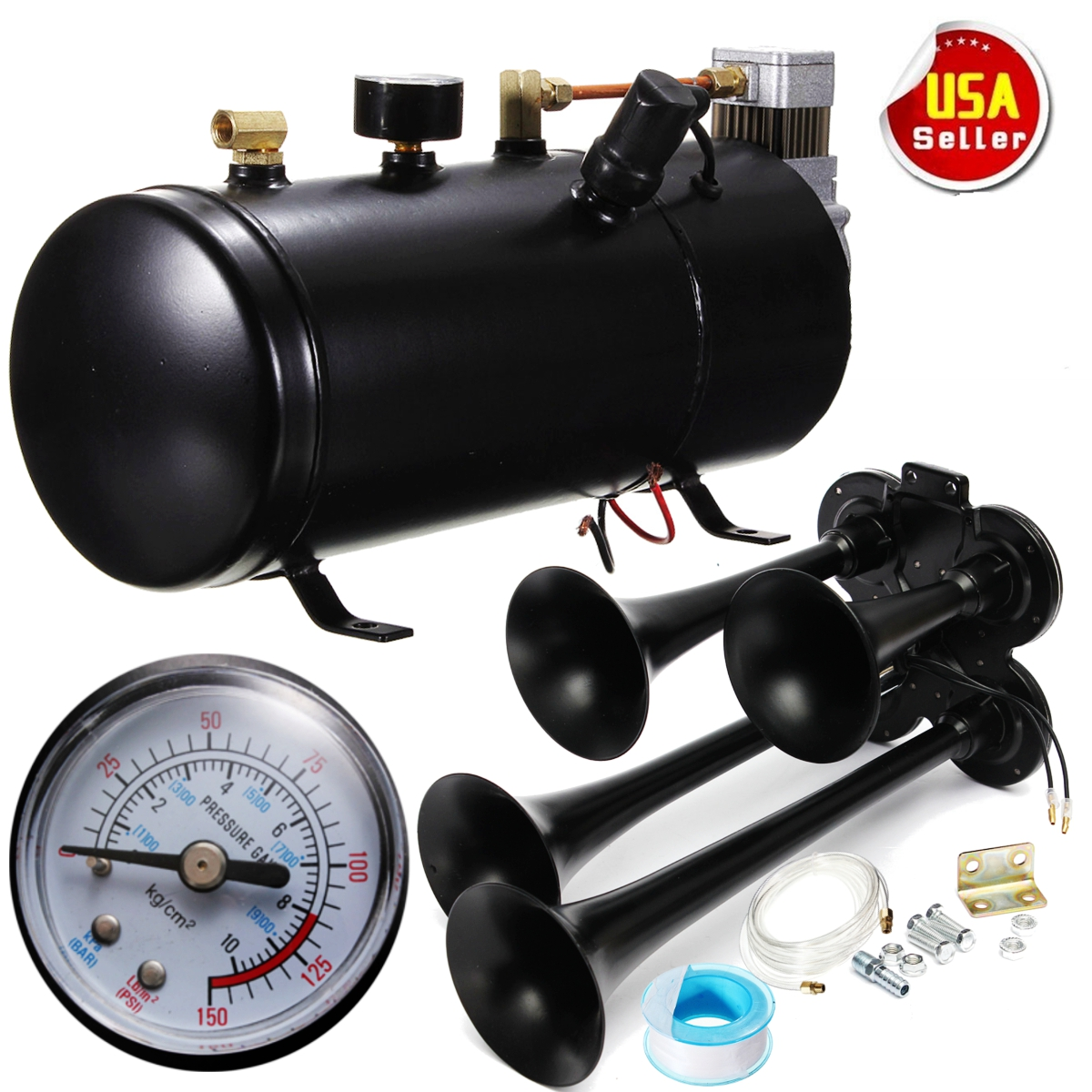 Autoleader 150PSI Air Compressor+118db Loud 4-Trumpet Air Horn House Black Metal Train Truck 12V/24V