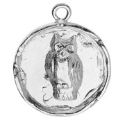 Nunn Design Charm, 20x24.5mm Owl Circle Bezel, 1 Piece, Bright Silver