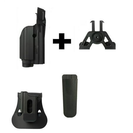 IMI Defense ZSP07 Mag Pouch + Z1500 Level 2 Flashlight/Laser Holster Sig  Sauer SP250 Compact,P250 FS,227,P220, P226,Pro2022,MK25 P320 9mm, Black +