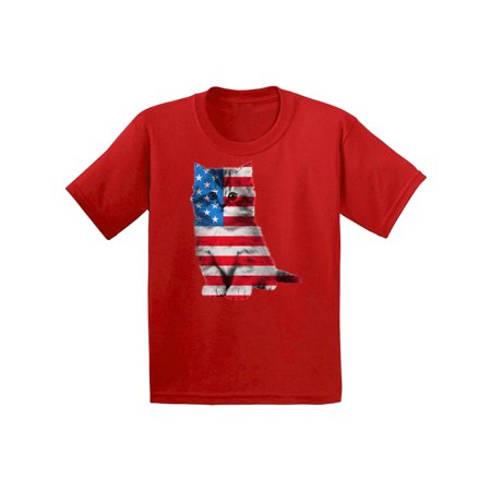 Image of Awkward Styles Youth USA Flag Cat Graphic Youth Kids T-shirt Tops Cute 4th of July Gift American Flag