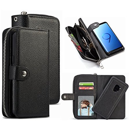 buy online d84e1 7e8c7 Mignova S9 Wallet Case, PU Leather Detachable Magnetic Zipper Purse ...