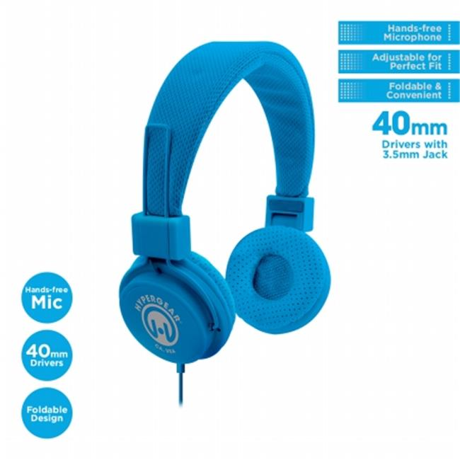 HyperGear 13282 V20 Stereo Headphones with Mic 3. 5 mm, Blue