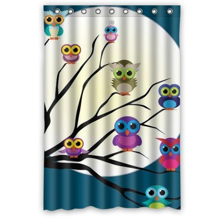 HelloDecor Owl Shower Curtain Polyester Fabric Bathroom Decorative Size 36x72 Inches