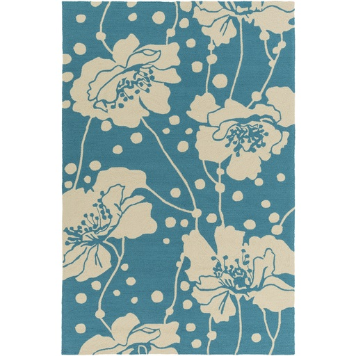 2' x 3' Hibiscus Hopes Teal Blue and Eggshell Outdoor Safe Area Throw Rug