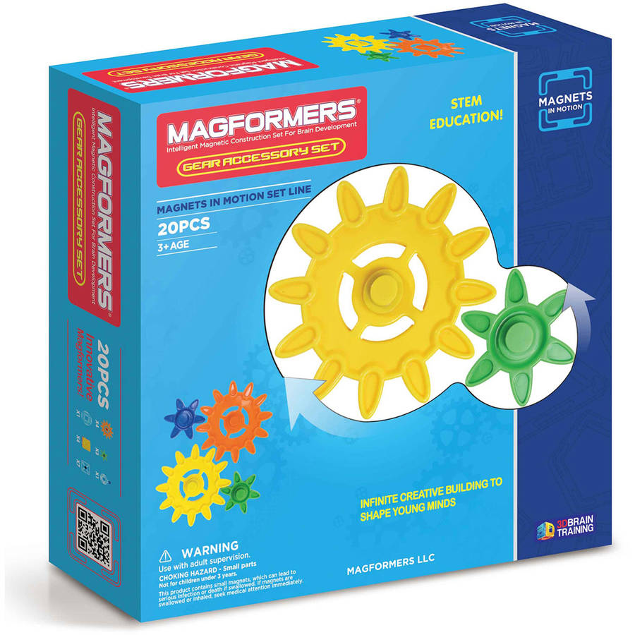 Magformers Magnets in Motion Gear Accessory 20-Piece Magnetic Construction Gear Set