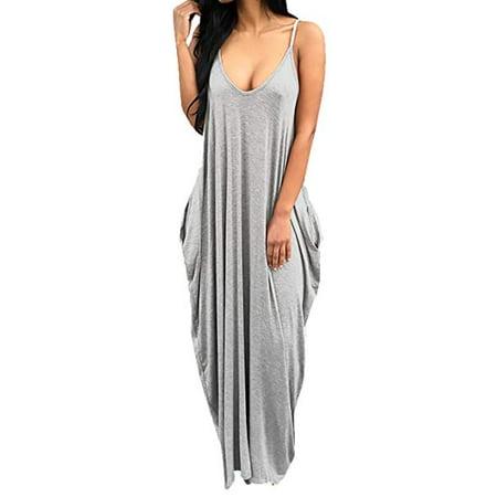 c05683a980e7 Vista - Women s Loose Low V Neckline Spaghetti Straps Maxi Dress Beach Wear  - Walmart.com