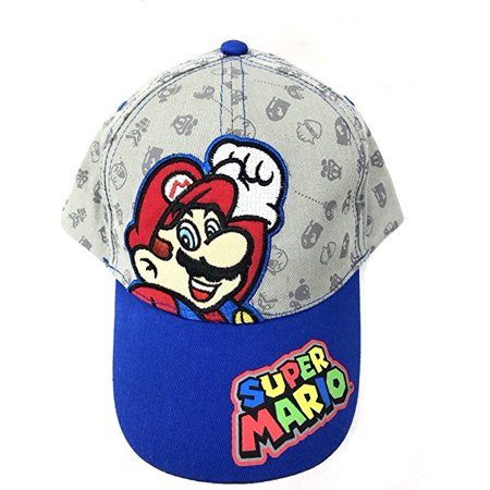Baseball Cap - Nintendo Super Mario - Gray/Blue Kids Hat - Toad Mario Hat