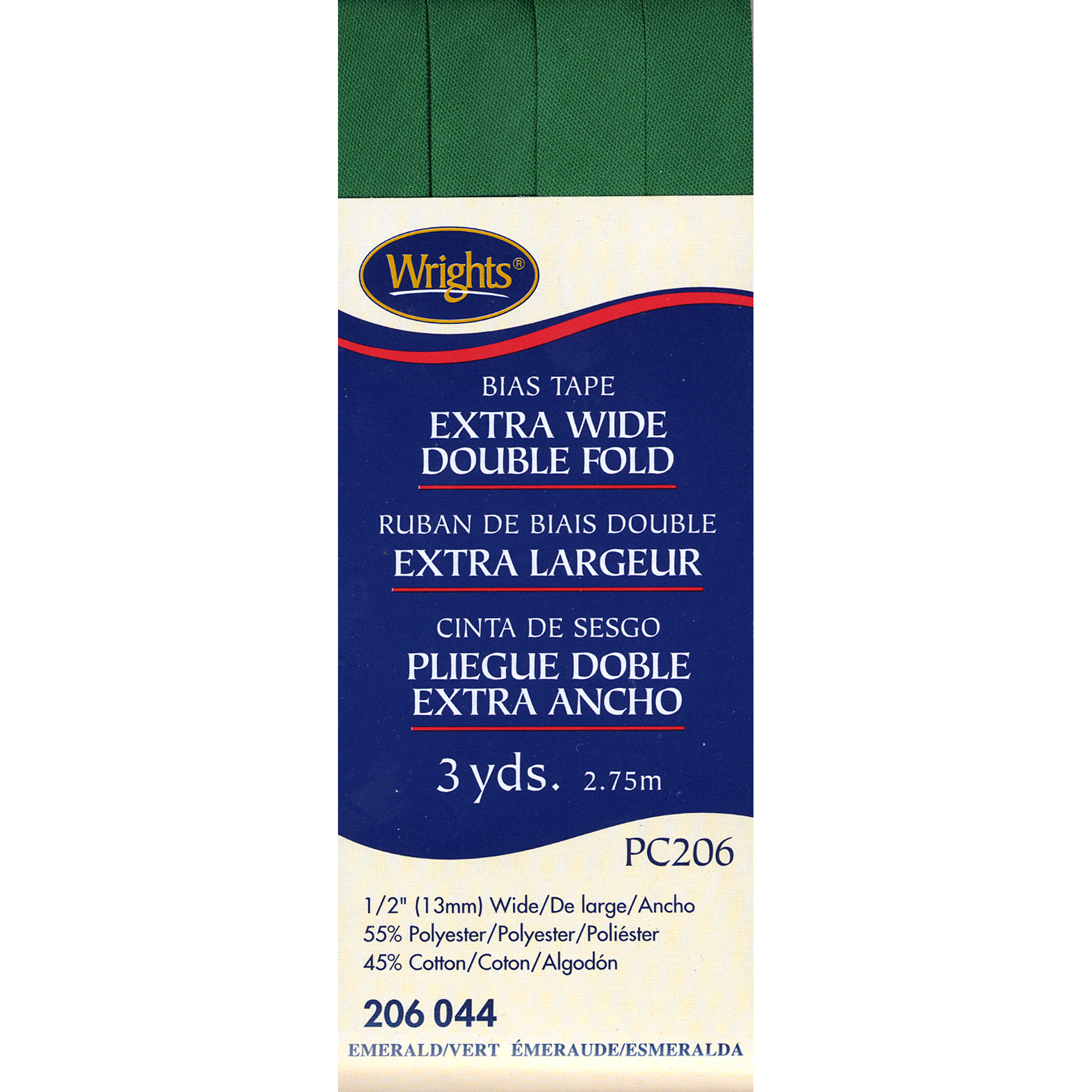 """Wrights Double Fold Bias Tape 1/2""""X3yd-Emerald"""