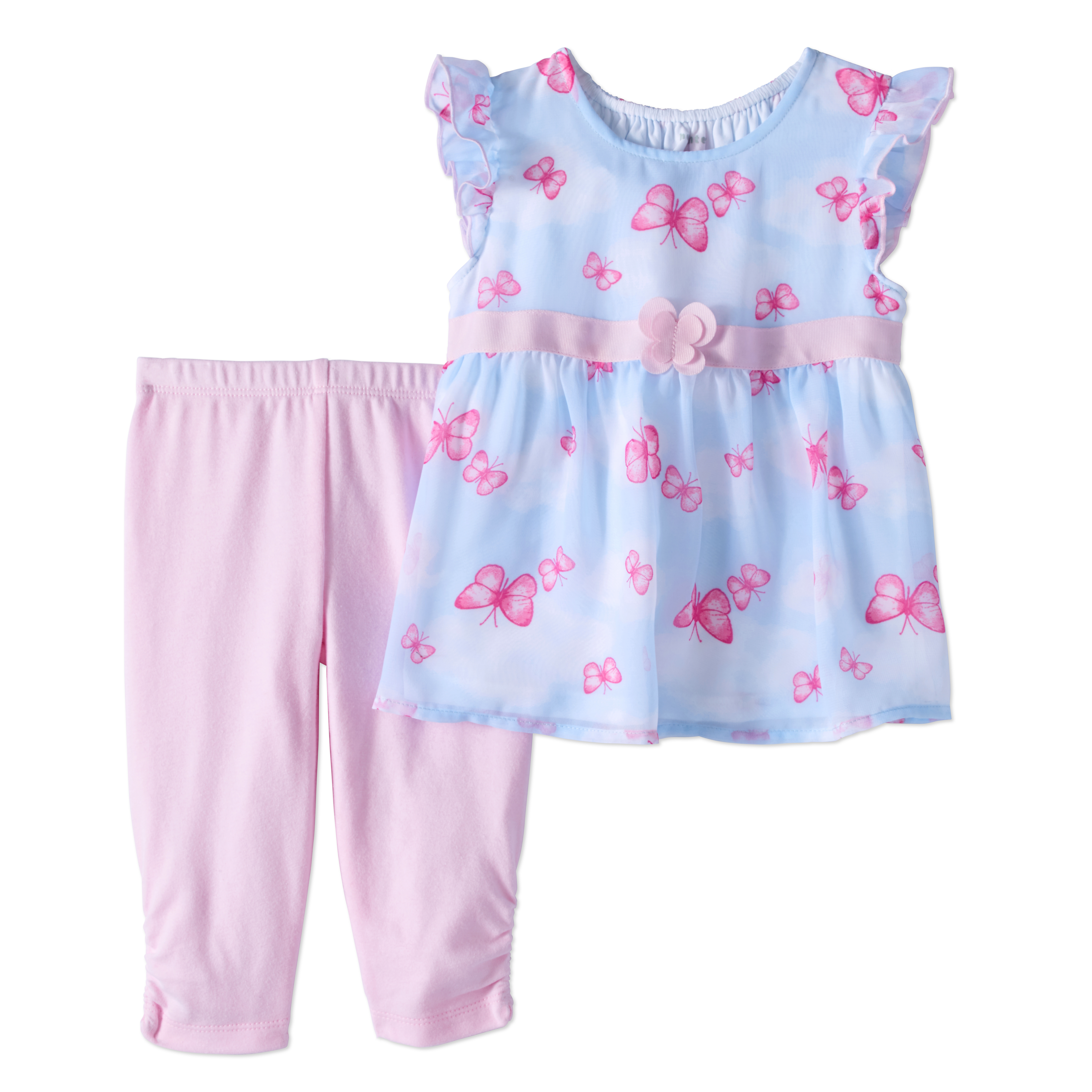 Healthtex Baby Girl Chiffon Tunic & Knit Leggings, 2Pc Outfit Set