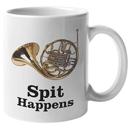 March Conductor (Spit Happens. Cute French Horn Coffee & Tea Gift Mug For Marching Band Players, Musicians, Music Conductor, Artists, Students, Teens, Moms, Dads, Women And Men (11oz))