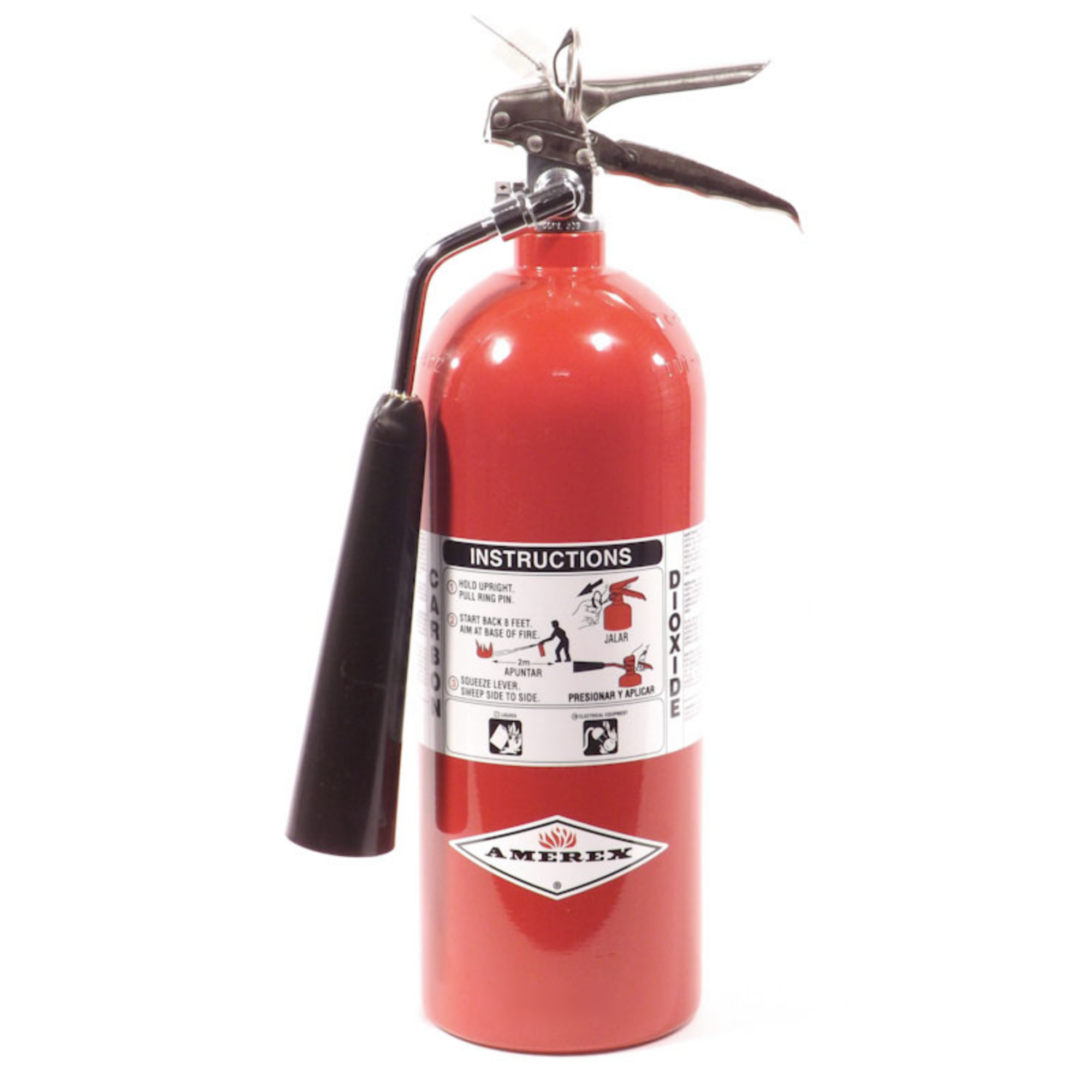 Amerex, Fire Extinguisher, 5 lb BC Fire Extinguisher, CO2, Carbon Dioxide, Commercial Fire Extinguisher, Wall Bracket, 322NM, Monthly Record Tag, Great for Electronics