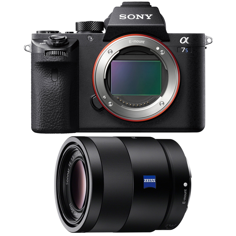 Sony a7S II Full-frame Mirrorless Interchangeable Lens Camera Body 55mm Lens Bundle includes a7S II Body and Sonnar T* FE 55mm F1.8 ZA Full Frame Camera Lens