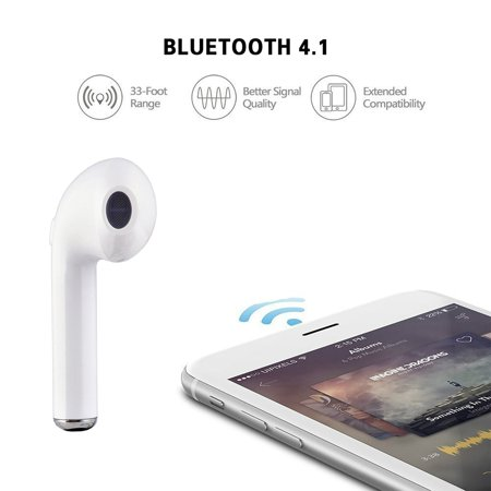 Mini Wireless Earbud Bluetooth Headset In-Ear Earphone Earpiece Headphone for apple iPhone 8 iPhone 7 7 plus 6s 6s plus and Samsung Galaxy S7 S8 and Android Phones(Single Right Ear)(White)